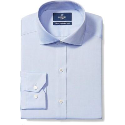 バトゥンド ダウン Buttoned Down メンズ シャツ トップス Tailored Fit Cutaway Collar Solid Non-Iron No Pocket Dress Shirt Blue