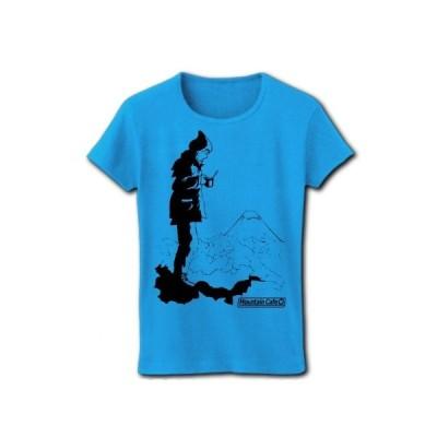 Mountain Cafe+Fuji(K) リブクルーネックTシャツ(ターコイズ)