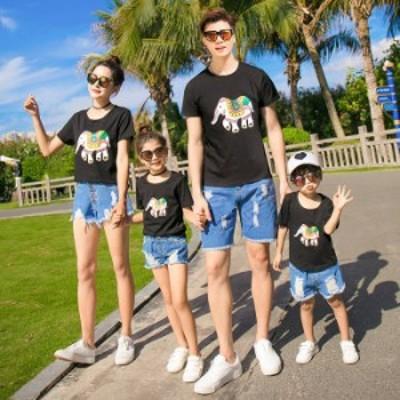 親子ペア ルック 親子お揃い ママ レディース 女の子 Tシャツ+パンツ 2点セット デニム ショートパンツ パパ メンズ 男の子