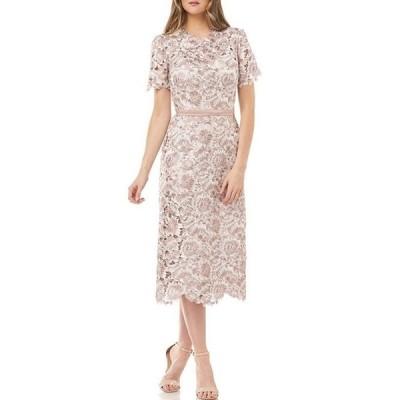 ジェイエスコレクションズ レディース ワンピース トップス Floral Lace Short Sleeve Sheath Midi Dress