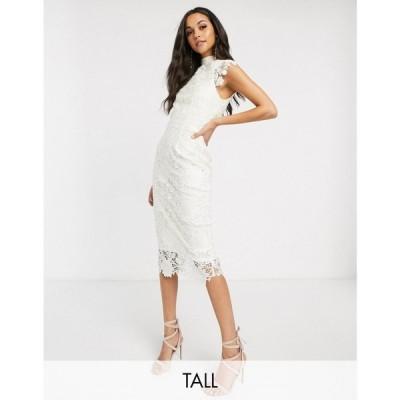 ペーパー ドールズ Paper Dolls Tall レディース ワンピース ミドル丈 high neck cap sleeve lace midi dress in winter white ウィンターホワイト