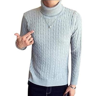 セーター メンズ タートルネック 無地 カジュアル 長袖 ニット ケーブル編み(ライトグレー, 2XL (日本サイズXL))