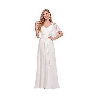 [エバープリティ] イブニングドレス ロングドレス ワンピース 演奏会 ウェディング パーティー イブニングドレス お呼ばれ (ホワイト M)