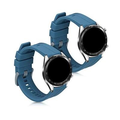 kwmobile 対応: Huawei Watch GT (46mm) 交換バンド - 2x 替えベルト TPU シリコン バンド ブルーグレー