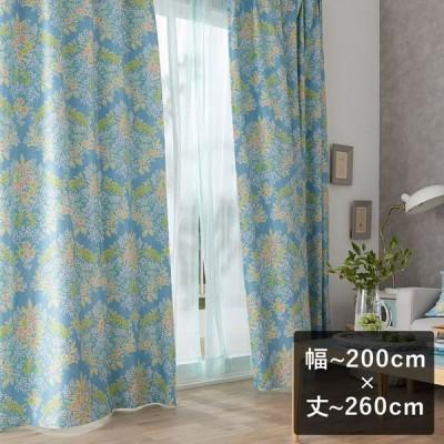 2級遮光カーテン スミノエ デザインライフ MIX BOUQUET ミックス ブーケ ブルー 幅〜200cm×丈〜260cm