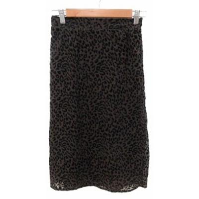 【中古】シニカル 台形スカート フレア ミモレ ロング 豹柄 レオパード 2 茶 ブラウン 黒 ブラック レディース