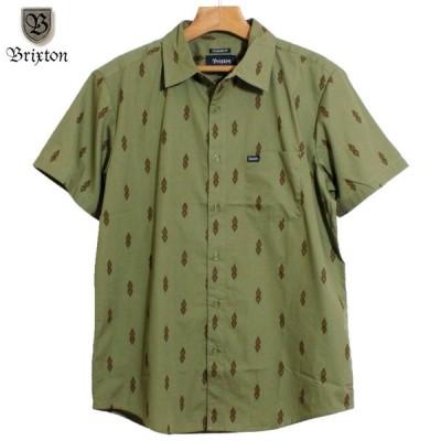 BRIXTON ブリクストン 半袖シャツ プリントシャツ 総柄 ウォッシュドオリーブ