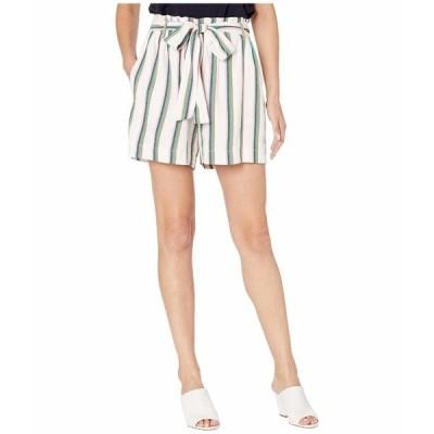 ECI ハーフ&ショーツ ボトムス レディース Paper Bag Waist Stripe Shorts with Tie Ivory Multi