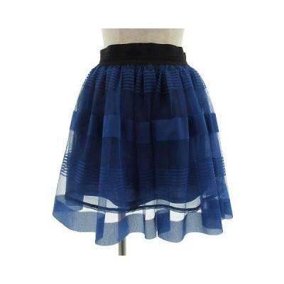 【中古】ヒアーズ HERE'S スカート ひざ丈 フレアー チュール ブルー 青 XL レディース 【ベクトル 古着】