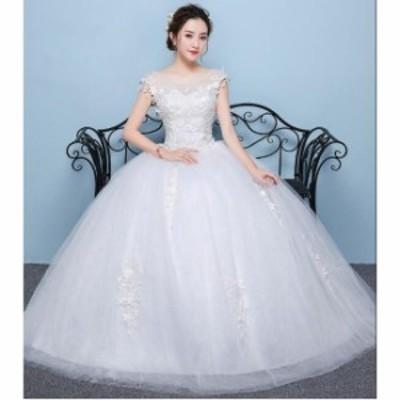 ロングドレス 花柄レース 編み上げ ブライダル ワンピース 冠婚 ロング丈ワンピース 綺麗 結婚式 花嫁 パーティードレス プリンセスライ