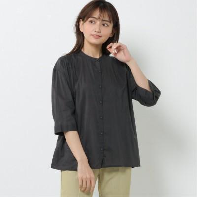 綿100%ゆったりシルエット◎バンドカラーシャツブラウス
