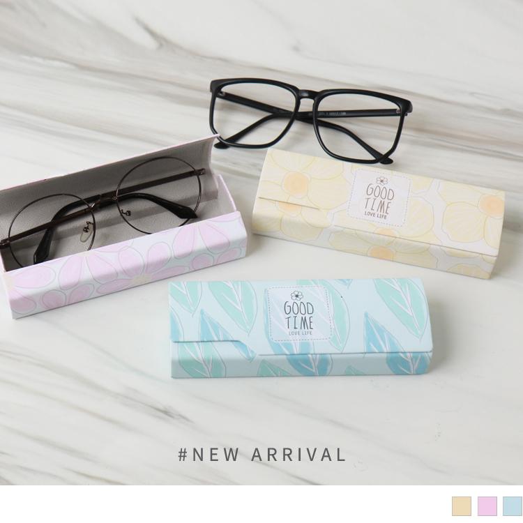清新印花皮質眼鏡盒
