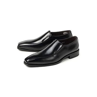 日本製 本革ビジネスシューズ フランコルッチ FRANCO LUZI 2953 メンズ サイドゴアスリッポン 靴 結婚式 ブラック (26.5, ブラ