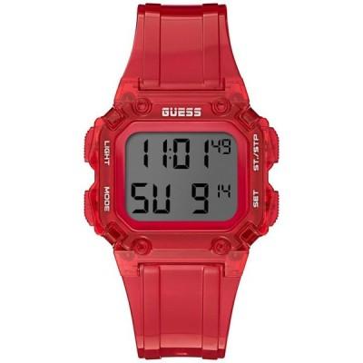 ゲス メンズ 腕時計 アクセサリー Men's Red Silicone Digital Watch 39mm
