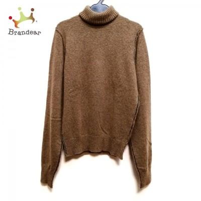 ドルチェアンドガッバーナ 長袖セーター サイズ44 L レディース - ブラウン×黒 タートルネック 新着 20210615
