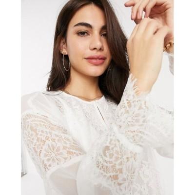フレンチコネクション French Connection レディース ブラウス・シャツ トップス abella mix tie sleeve blouse in white サマーホワイト