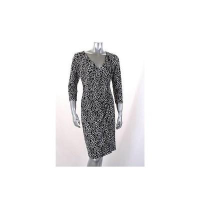 アメリカンリビング ドレス ワンピース フォーマル American Living ブラック ホワイト Geometric プリント Faux ラップ ドレス Sz 6 79LAFO