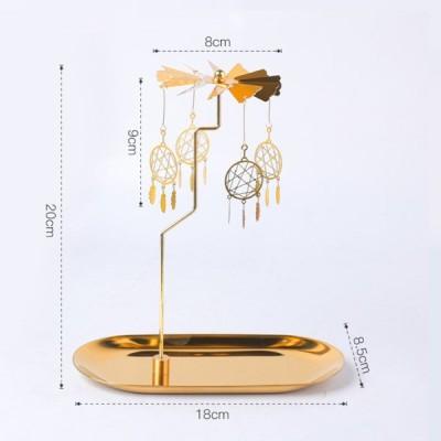ゴールドキャンドルホルダー回転スピニングティーライトホルダーキャンドルホルダー装飾C