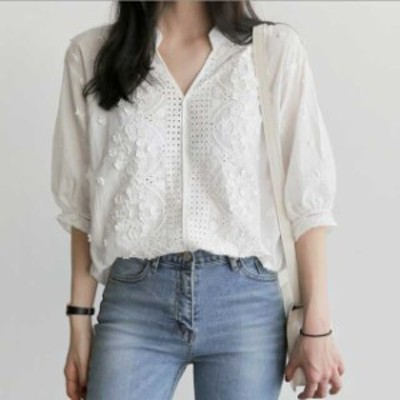 フェミニン 刺繍 ブラウス ホワイト シャツ 七分丈 ガーリー 大人可愛い レース パフスリーブ ロングテール