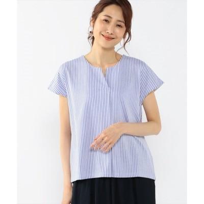 tシャツ Tシャツ ストライプキーネックプルオーバー