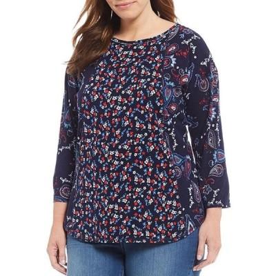 ウエストバウンド レディース Tシャツ トップス Plus Size 3/4 Sleeve Seam Paisley Floral Print Tee