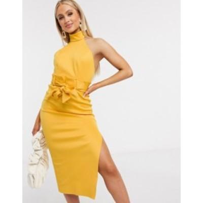 エイソス レディース ワンピース トップス ASOS DESIGN paperbag halter pencil midi dress in mustard Mustard