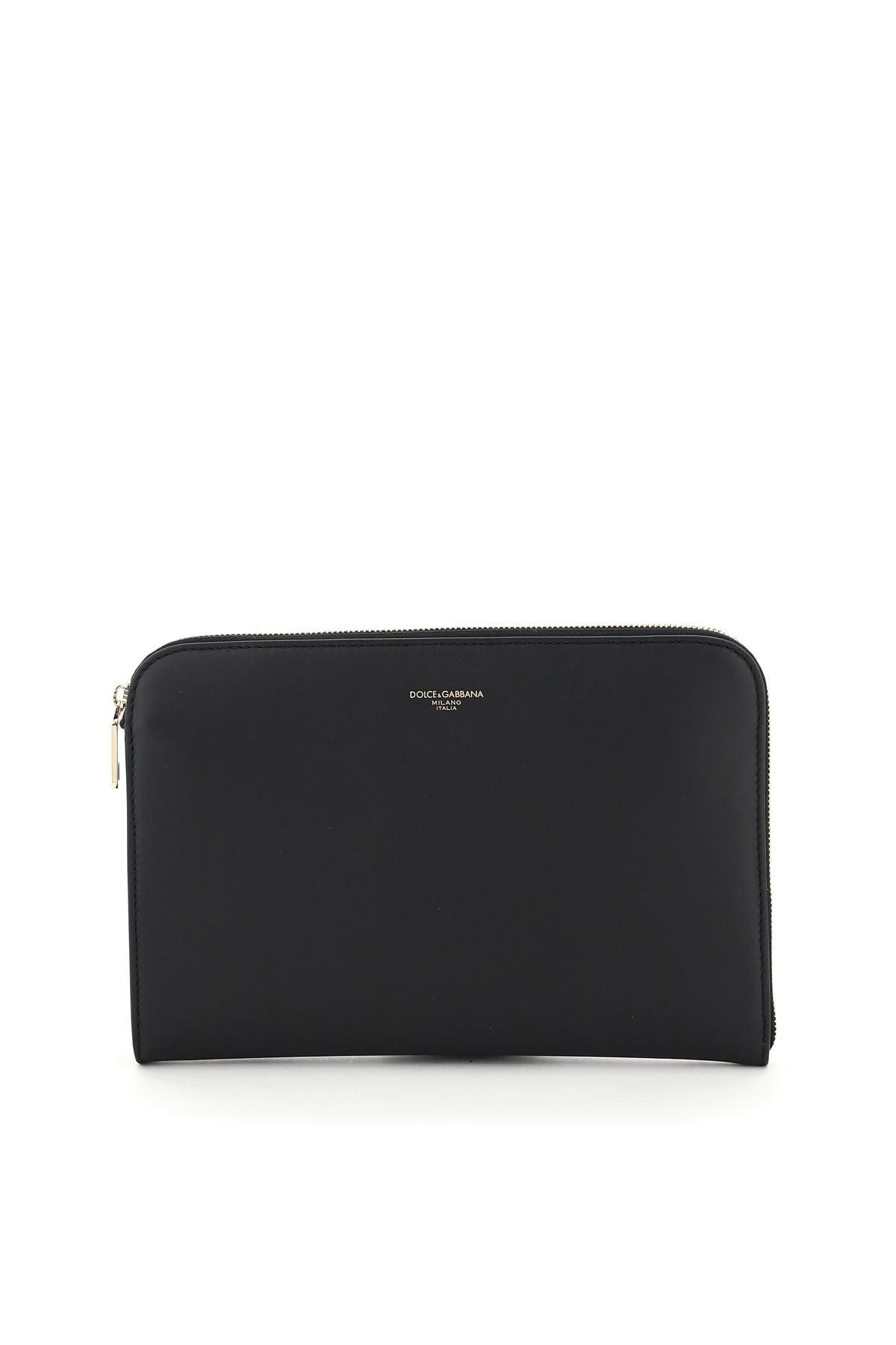DOLCE & GABBANA ZIPPED CALFSKIN POUCH OS Black Leather