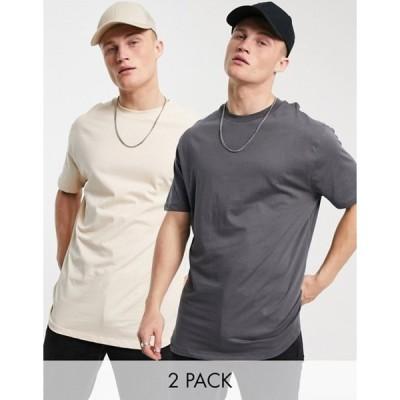 エイソス メンズ シャツ トップス ASOS DESIGN 2 pk t-shirt with curved hem
