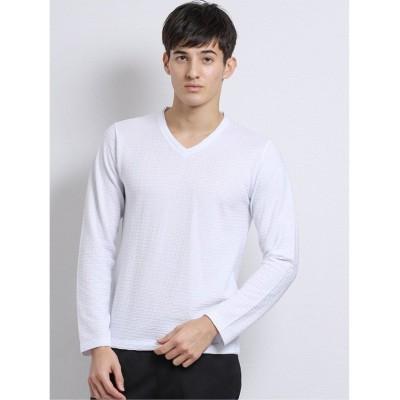 (TAKA-Q/タカキュー)ブライトブロックジャガードWVネック長袖Tシャツ/メンズ ホワイト
