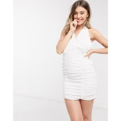 エイソス レディース ワンピース トップス ASOS DESIGN textured halter ruched sundress in white