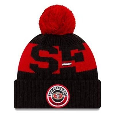 ニューエラ メンズ 帽子 アクセサリー San Francisco 49ers New Era 2020 NFL Sideline Official Sport Pom Cuffed Knit Hat Black/Scarl