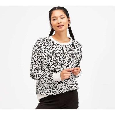 プーマ Puma レディース スウェット・トレーナー トップス all over print crew sweatshirt Black/Animal