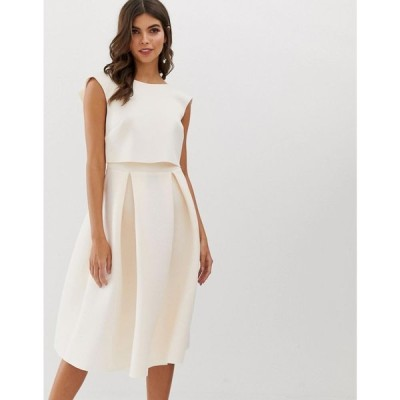エイソス ASOS DESIGN レディース ワンピース ワンピース・ドレス fold back crop top midi prom dress Blush