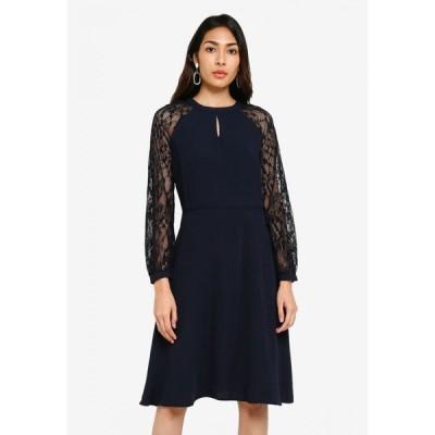 ドロシー パーキンス Dorothy Perkins レディース パーティードレス ワンピース・ドレス Lace Sleeve Fit And Flare Dress NAVY BLUE