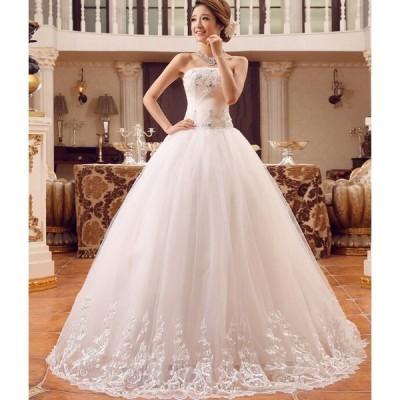 !綺麗激安ウェディングドレス 豪華なロングドレス☆格安結婚式二次会パーティーエンパイアドレスフリル ドレス 編みげ ビスチェ