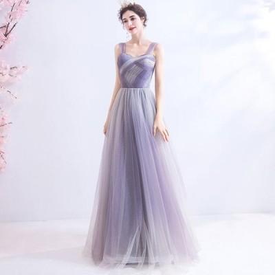 ANGEL キャミソール グラデーション 肌透け チュール ラメ 背中編上げ Aライン ロングドレス パープル 紫