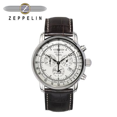 【齊柏林飛船錶Zeppelin】百年紀念三眼測速白盤石英錶 42mm 男/女錶 76801
