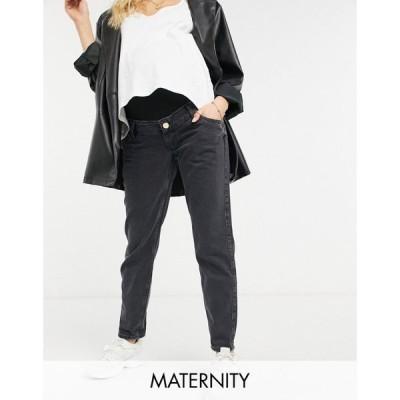 リバーアイランド River Island Maternity レディース ジーンズ・デニム ボトムス・パンツ Carrie Overbump Comfort Bum Sculpt Mom Jeans In Black ブラック