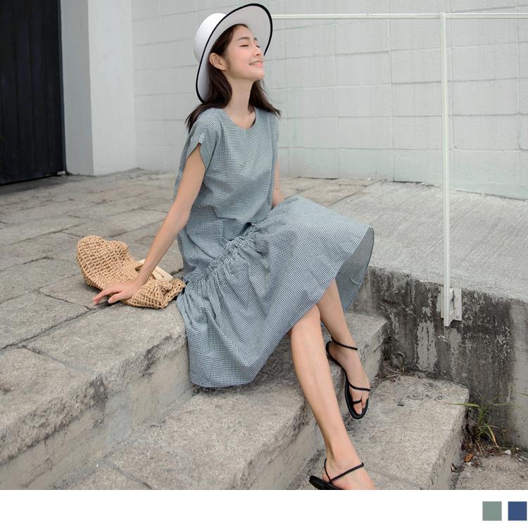 棉質小格紋鄰家少女荷葉傘襬長洋裝