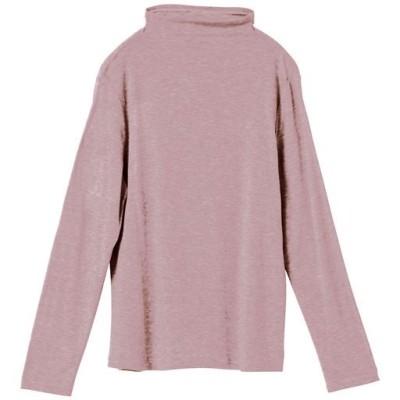 テンセル™繊維混ボトルネックTシャツ(日本製)/スモークピンク/L