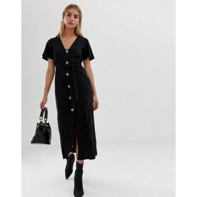 エイソス レディース ワンピース トップス ASOS DESIGN faux shell button through maxi tea dress