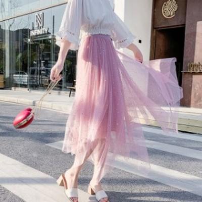 人気 レディース 夏物 スカート チュール スカート ロング丈 イレギュラーヘム ウエストゴム ガーリー ゆったり 体型カバー デート