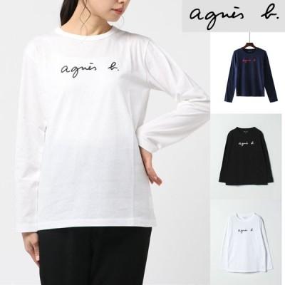2枚目購入値引き 母の日 agnes b. アニエスベー レディース 長袖T-shirt ロンT ロゴ コットン100% Tシャツ ホワイト ブラック