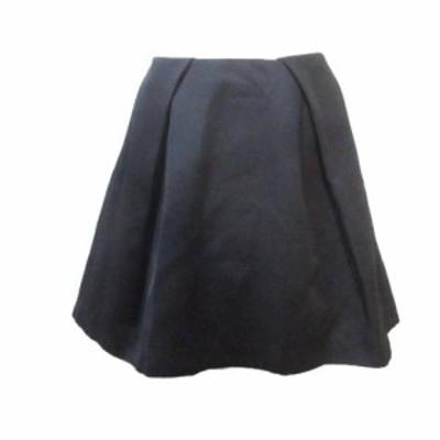 【中古】ミューズ ドゥーズィエムクラス MUSE de Deuxieme Classe ひざ丈 スカート サーキュラー タック フレア 黒 ブラック 38