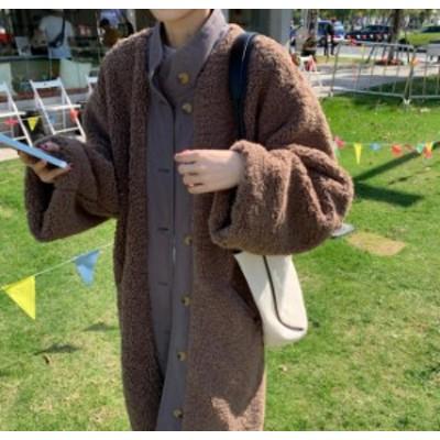 ボア ロングコート レディース ロングカーディガン 韓国 ファッション オーバーサイズ ゆったり 大人可愛い カジュアル シンプル 暖かい