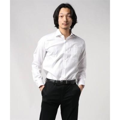 シャツ ブラウス [クリケット] CRICKET イージーケア カルゼ織り無地 ワイドカラーシャツ 日本製