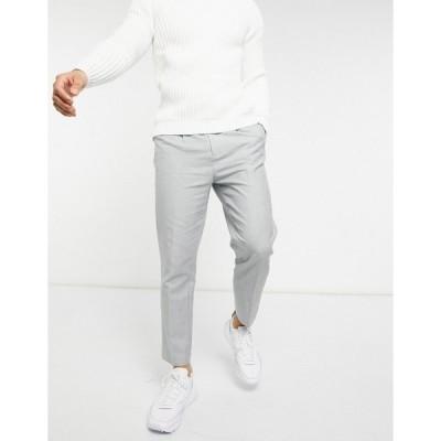 エイソス メンズ カジュアルパンツ ボトムス ASOS DESIGN tapered pant in cotton linen Grey