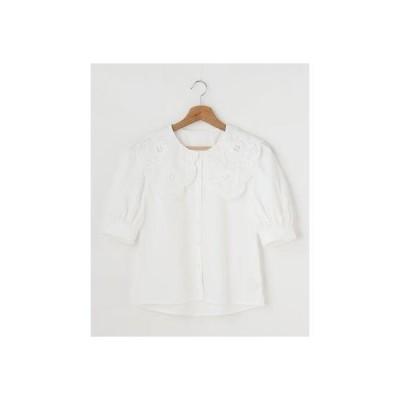 イング INGNI 衿レースTC半袖/BL (オフホワイト/A)