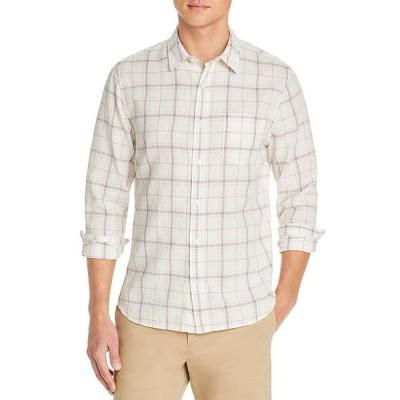 ヴィンス メンズ シャツ トップス Linen & Cotton Plaid Slim Fit Button Down Shirt