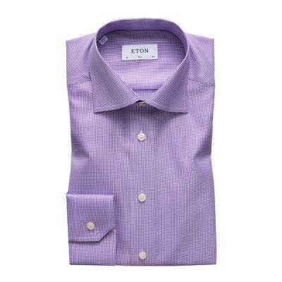 エトン メンズ シャツ トップス Men's Slim-Fit Houndstooth Dress Shirt